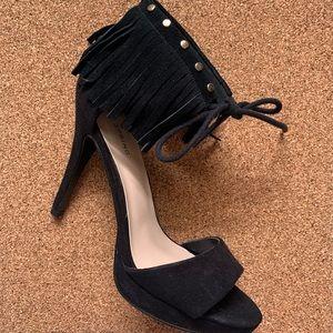 Call It Spring Black Fringe Heels